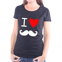 Mister Merchandise Femme Chemise T-Shirt I Love Moustache, Ladies Tee Taille: M, Couleur: Noir