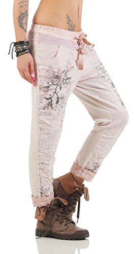 ZARMEXX Damen Baggy Hose Sweatpants Boyfriend Freizeithose Haremshose mit zartem Letter Blumen Print Baumwolle One Size 70509 Altrosa