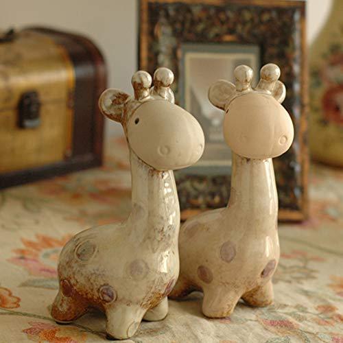 Jackeylove 1 Paar Porzellan Haus Dekorationen Wohnzimmer Dekoration Hochzeitsgeschenke Tierschmuck Keramik Giraffe Paar