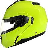Qtech Klapp Motorradhelm mit DOPPELVISIER/Sonnenblende - Gelb - XL (61-62cm)