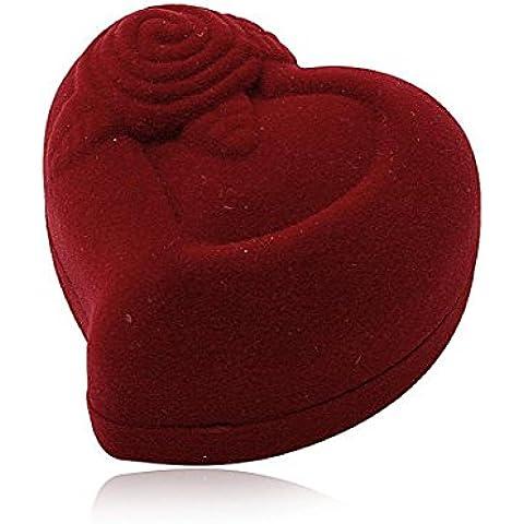 Scatolina portagioie per anelli con rivestimento in velluto rosso bordeaux, a forma di cuore con piccola rosa