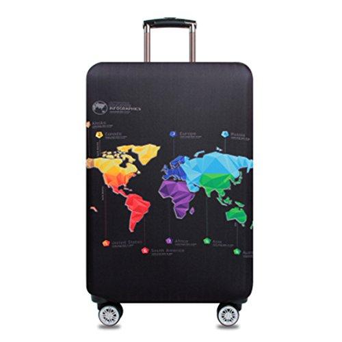 Bestja Elastisch Kofferhülle Kofferschutzhülle Gepäck Cover Reisekoffer Hülle Koffer Schutzhülle Luggage Cover mit Reißverschluss (Map, L)