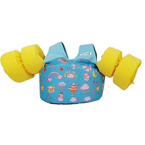 Schwimmweste für Kinder, Schwimm-Trainingsjacke, Armbänder für Kinder von 9-50 kg, für Mädchen und Jungen, blau, 20.0 cm * 30.0 cm * 7.0 cm -