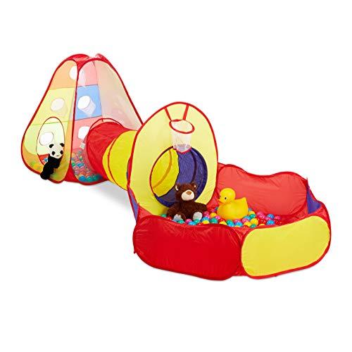 ällebad mit Tunnel, 3-teilig, mit 100 Bällen, Indoor & Outdoor, ab 3 Jahre, Pop-Up-Kinderspielzelt, bunt ()