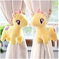 Tickles 2 Pcs Unicorn Soft Plush Toy Curtain Tiebacks Buckle Holder Clip Velcro for Children Living Room Decoration…