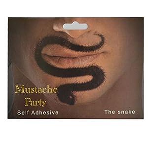 Gifts 4 All Occasions Limited SHATCHI-1363 - Bigote artificial con forma de serpiente, bigote autoadhesivo, accesorio para fiesta de disfraces, Halloween, pirata, bigote, color negro