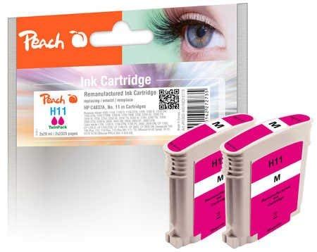 Peach Doppelpack Tintenpatronen magenta kompatibel zu HP No. 11 magenta, C4837A -