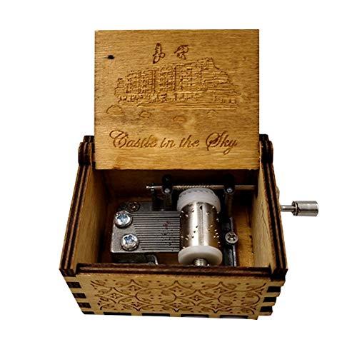 abai8981 Caja de Madera con manivela de la Bella y la Bestia, Mecanismo de 18 Notas, Caja Musical Antigua Tallada, niños, Amigos