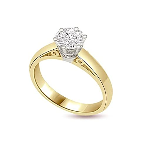 0.20ct G/SI1 Bague de fiançailles solitaire en diamant pour femme coupe Rond brillant diamants en 18ct or jaune et blanc