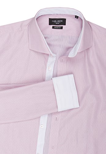 CARL GROSS elegantes Business-Hemd CG Ernesto, hellrotes Jacquards-Muster Rosa