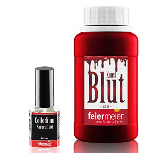 feiermeier Halloween Horror Set: Filmblut Kunstblut 250ml & Narbenfluid Collodium 11ml Narben Wunden