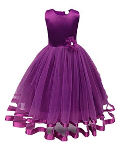 tyi Mädchen Kleider High-End-Kleid einfarbig Blumen Lange Prinzessin Kleid Blumenmädchen Prinzessin Kleid Festzug Tüll Kleid Party Brautkleid (Violett, 8T/160CM) ()
