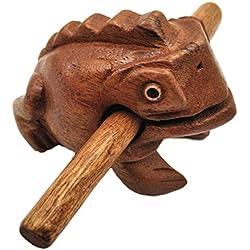 Rana de madera para cortar con mazo de Güiros, instrumento musical, bloque de sonido, instrumento de percusión de comercio justo, hecho a mano, tallado de madera natural, rana de la suerte, 10 cm de longitud, 6 cm de ancho y 8 cm de altura