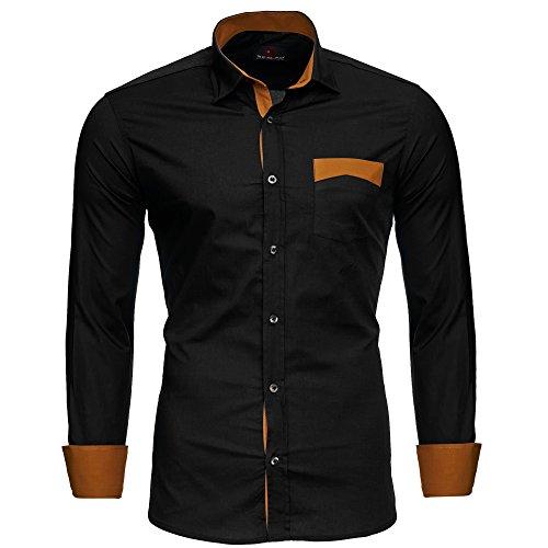 Reslad Herren Hemd bügelfreies Männer Partyhemd Hochzeitshemd Langarm Kontrast Sommerhemd mit Brusttasche RS-7205 Schwarz XL