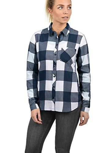 ONLY Rebecca Damen Lange Bluse Hemdbluse Langarm Mit Karo-Muster Aus 100% Baumwolle Regular Fit, Größe:38, Farbe:Cloud Dancer/Karomuster Patriot Blue