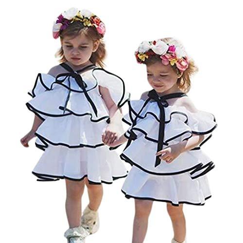 WHSHINE Baby Mädchen Kleider, Mode Ärmellos Spitzenkleider Rüschen Kuchenrock Tutu Rock Rückenfrei Sommerkleider Süß Bequem Patchwork Prinzessin Kleid - Sommerkleid Bloomers