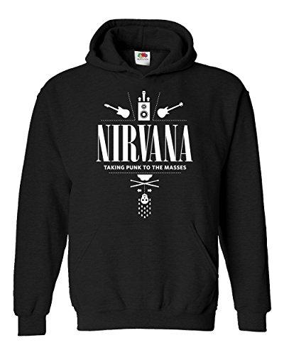 """Felpa Unisex """"Nirvana - Taking punk to the masses"""" - Felpa con cappuccio rock band LaMAGLIERIA, M, Nero"""