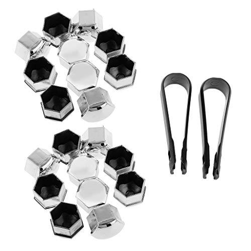 Runfon 20x T39 Radschrauben Kappen Abdeckungen Radkappen Set mit Abzieher - Silber 100% Neu