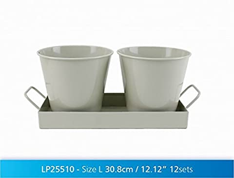 Vintage Shabby Chic French Style Home Painted Metal PLANTER SET with TRAY - SAGE GREEN - 31cm by Really Nice