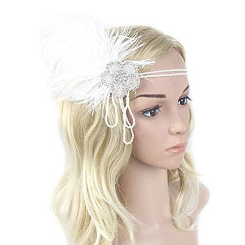 FENICAL Partygebrauch Feder Haarband Blossom Strass Stirnband Headpiece Kopfstück 1pc