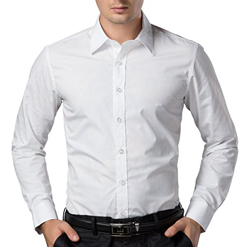 Being Fab Men's Solid 100% Cotton Regular Fit Casual White Shirt