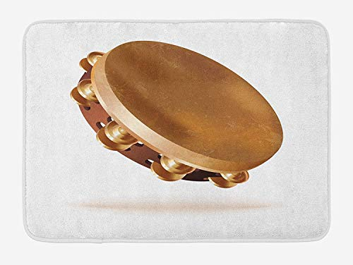 CHKWYN Tambourine Bath Mat, Traditional Hand Percussion Instrument with Pair of Jingles Folk Rhythm, Plush Bathroom Decor Mat with Non Slip Backing, 23.6 W X 15.7 W Inches, Caramel Brown White