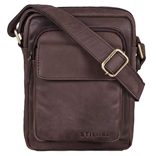 STILORD \'Jannis\' Leder Umhängetasche Männer klein Vintage Messenger Bag Herren-Tasche Tablettasche für 9.7 Zoll iPad Schultertasche aus echtem Leder, Farbe:matt - Dunkelbraun