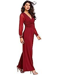 c36801547c7 shelovesclothing Women s Mesh Plunge Long Sleeve Embellished Jumpsuit