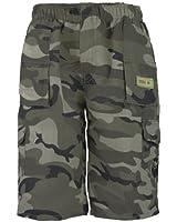 Kids Plain & Camouflage Multipocket Shorts Boys Army Print Cargo Combat