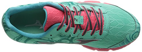 Mizuno Wave Hitogami 2 Synthétique Chaussure de Course Green-Silver-Pink