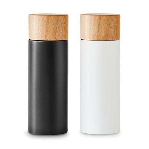 Salz- und Pfeffermühlen-Set 2 tlg. von KITCHEN CREW (4,8 x 14,7 cm) aus Birke im Schwarz-Weiß-Look, Mahlwerk aus Keramik, Mahlgrad individuell einstellbar, ideal für Gewürze, Pfeffer, Salz & Chili