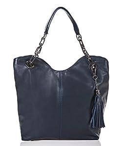 italienische Damen Handtasche Prag aus echtem Leder in kobalt blau, Made in Italy, Shopper Bag 42x28 cm