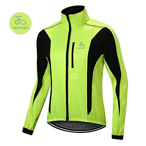 OUTON Winddichte Fahrradjacke Männer Radsport-Jacken für Herren MTB Mountainbike Jacket Visible reflektierend Fleece Warm Jacket (Grün, XL)