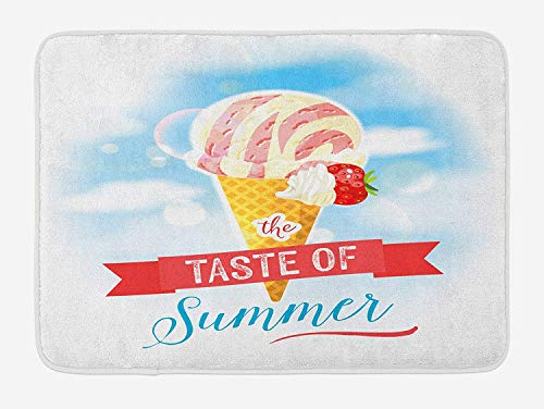 BUZRL Ice Cream Bath Mat, The Taste of Summer Quote with Cone and Strawberry Clouds Inspirational Print, Plush Bathroom Decor Mat with Non Slip Backing, 23.6 W X 15.7 W Inches, Multicolor -