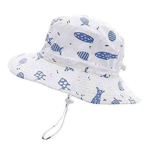 Sonnenhut Mädchen Jungen Kleinkind Sommerhut Fisherhut mit Breiter Krempe, Atmungsaktiver Sommermütze, UV Schutz 50, Kopfumfang verstellbar, Fischmotiv/52cm