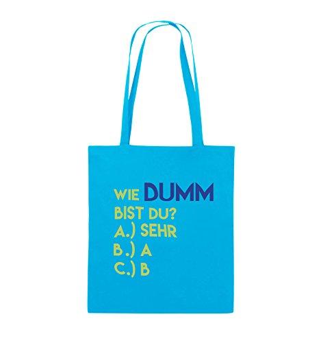 Comedy Bags - Wie dumm bist du? - Jutebeutel - lange Henkel - 38x42cm - Farbe: Schwarz / Weiss-Neongrün Hellblau / Hellgrün-Royalblau