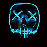 Immoch - Maschera di Halloween a LED, per adulto blu