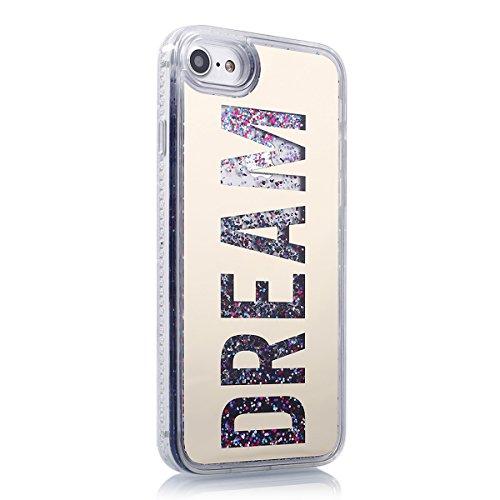 iPhone 7 Custodia,iPhone 7 Cover, JAWSEU 3D Creativo Disegno Lusso Fluente liquido Sparkle Glitter Bling Amore cuore lustrino Protettiva Case Rigida Nero Copertura per iPhone 7 4.7 Scintillare Scintil Oro Lettera