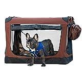 MMUY-1 Caja Plegable Suave para Perros, 3 Puertas de Lados Suaves, con Felpudo para Mascotas en Interiores y Exteriores,Marrón,M