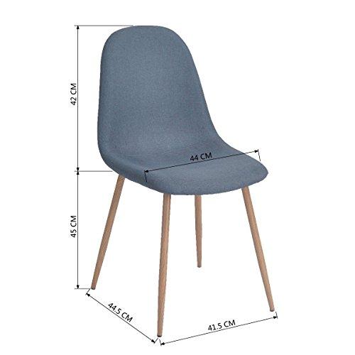 Aingoo Set di 4 sedia design imbottito Blu-grigio telaio in legno ...