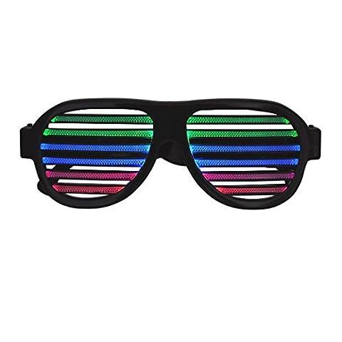 Nouvelle LED Lunettes, Sourcingbay Multi Couleur LED Light Up Lunettes de Musique et son activé Lunettes de fête rechargeable pour volet roulant Fashion Funny Lunettes pour vos sorties Clubbing, EDM, Rave, Disco, Dubstep et birthy Party