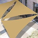 SanGlory 3 x 3 x 3 m Dreieck Sonnensegel Sonnenschutz Segel, UV Schutz Wasserdicht Sonnensegel für Garten, Balkon, Terrasse (Sandfarbe, 3 x 3 x 3m)
