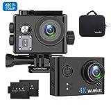 WiMiUS Action Cam 4K WiFi HD Impermeabile Fotocamera 40M Videocamera Sportiva 170 Gradi Grandangolare con 2 Batterie Ricaricabili e Kit Accessori per Casco(Borsa da Trasporto)