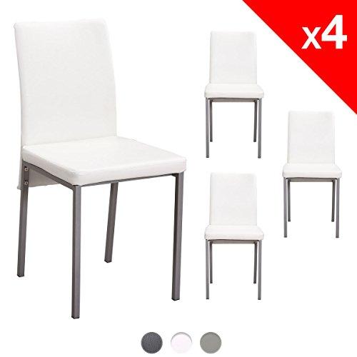 KAYELLES Chaises de Cuisine Moderne Lot de 4 IXIA Simili Cuir Salle à manger, cuisine (Blanc)