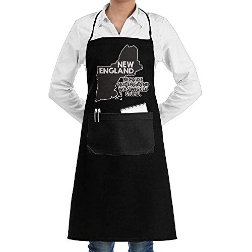 Drempad Schürzen New England, Because Old England was Wicked Stupid Adjustable Kitchen Chef Bib Apron Front Pocket Mens Womens