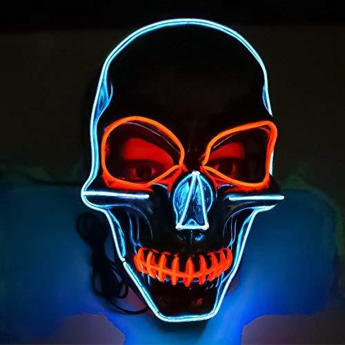 Kostüm Leuchtende Augen - Queta Halloween Maske LED Beleuchtung Maske Scary Maske Leuchtenden Schädel EL Draht Leuchtmaske Fest Karneval Kostüm Party (Rote Augen)