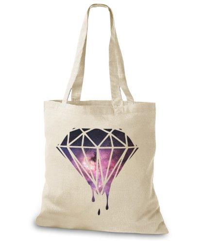 StyloBags Jutebeutel / Tasche Melting Galaxy Diamond Natur