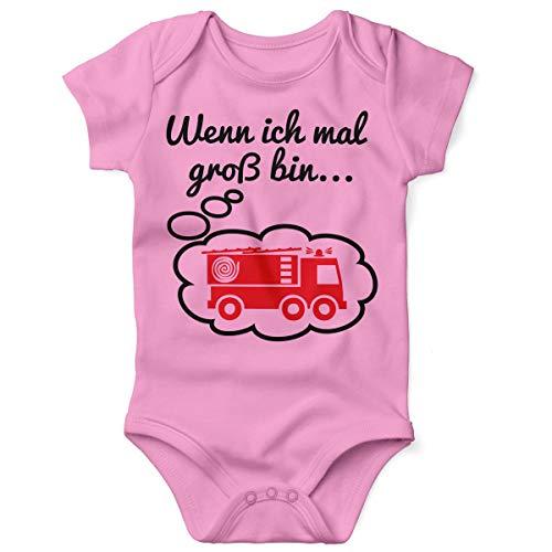 Mikalino Babybody mit Spruch für Jungen Mädchen Unisex Kurzarm Wenn ich mal groß Bin. Feuerwehr   handbedruckt in Deutschland   Handmade with Love, Grösse:56, Farbe:rosa