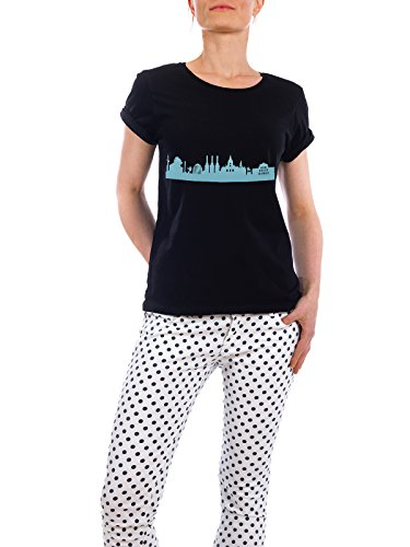 "Design T-Shirt Frauen Earth Positive ""HANNOVER 08 Skyline Pastel-Blue Print monochrome"" - stylisches Shirt Abstrakt Städte Städte / Weitere Architektur von 44spaces Schwarz"