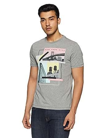 Aeropostale Men's Printed Regular Fit T-Shirt (AE1002654053_Med HTHR Grey_Small)